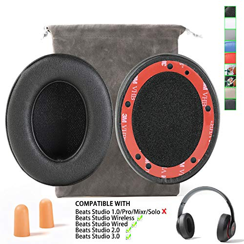 Upgrade Replacement Ear Pads Cushion Muffs for Beats Studio 2 Beats Studio 3 Wireless Over Ear Headphones(NOT FIT Beats Solo !!!) - Black (Best Studio Headphones For Making Beats)
