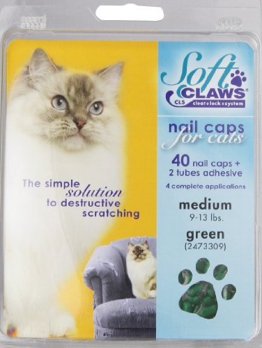 Medium Green (Feline Soft Claws Cat Nail Caps Take-Home Kit, Medium, Green)