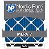 Nordic Pure 16x25x4 MERV 7 Plus Carbon AC Furnace Air Filters, Quantity 1
