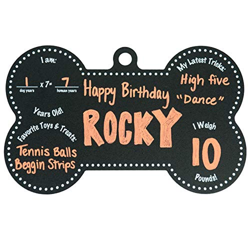 Custom Product Solutions Dog Birthday Bone Shaped Chalkboard Sign. Black w/White Print - 7 1/2