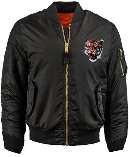 Bn Mens Patch Bomber Jackets Reversible MA-1 Flight (Medium, Blk.Tiger) (Bomber Patch)