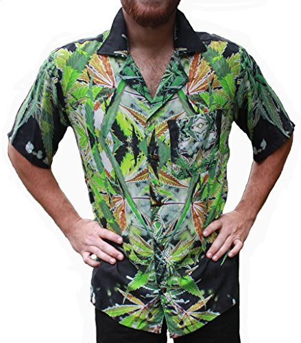Hawaiian Shirts Mens Rayon Aloha Party Holiday Blueberry- S by Cannaflage Designs