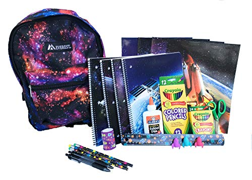 Galaxy of Stars Backpack Preassembled with Outer Space School Supplies – Spiral Notebooks, Folders, Art, Writing, Stickers by Combined Brands