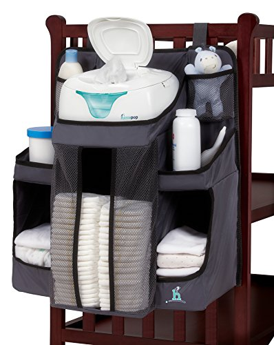 hiccapop Nursery Organizer and Baby Diaper Caddy | Hanging Diaper Organization Storage for Baby Essentials | Hang on Crib, Changing Table or (Diaper Stacker)