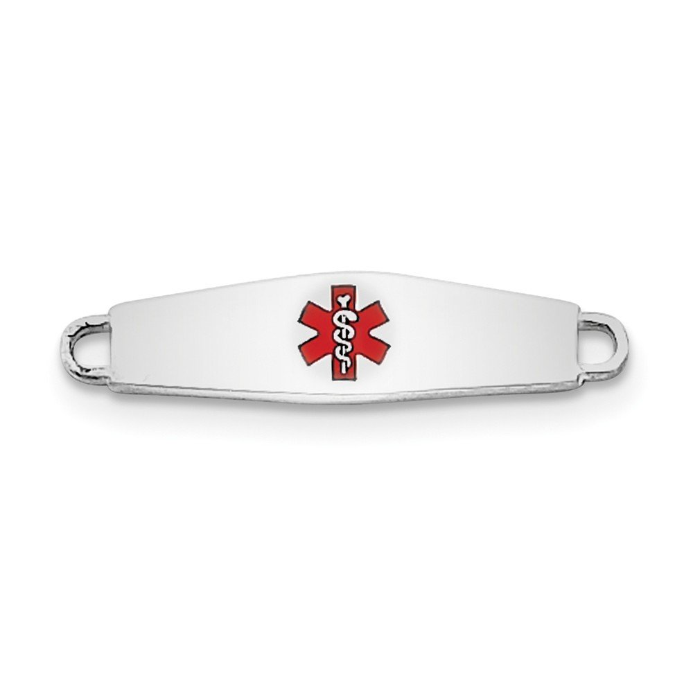 Top 10 Jewelry Gift Sterling Silver Rhod-plated Medical ID Plate