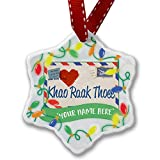 Personalized Name Christmas Ornament, I Love You ThaI Love Letter from Tailand NEONBLOND