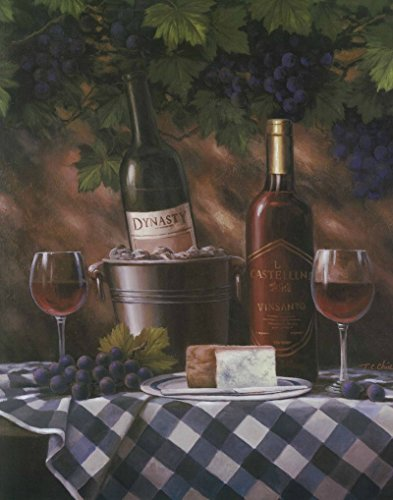 Set of 4 Classy Wine Bottles Grapes Gourmet Fruit Art Prints Posters 11x14 Inches Kitchen Cafe Home Decor Great for Framing!