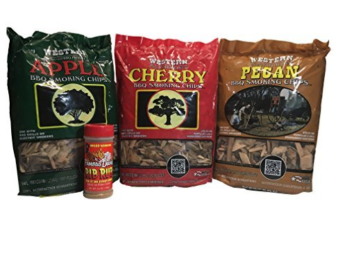 Western Ultimate BBQ Smoking Wood Chips with FREE BOTTLE of Famous Dave's Rib Rub - Variety Pack Bundle (3) - Popular Flavors - Apple, Cherry, and Pecan