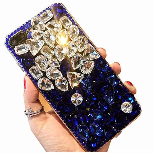 Alcatel Fierce 4 Case,Alcatel Allura Case,Alcatel Pop 4 Plus Full Crystal Diamond Case, 3D Handmade Luxury Sparkle Crystal Rhinestone Diamond Glitter Bling Clear TPU Case (White/Blue)