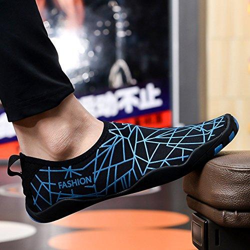 de Negro Unisex Surf Orificios para Insun de con Deportivos Rápido Buceo Zapatos Yoga Playa Natación Secado Azul Goma Suela de Aqua Agua Zapatos Descalzo qBBEx16d