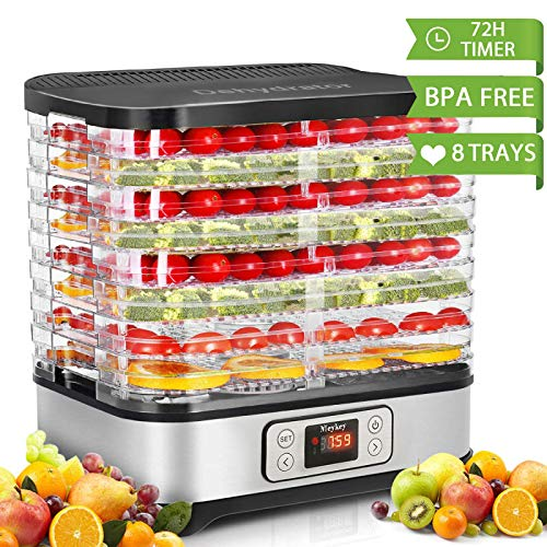 (Food Dehydrator Machine, Digital Timer and Temperature Control, 8 Trays, for Jerky/Meat/Beef/Fruit/Vegetable, BPA Free/450 Watt/Updated)