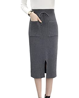 Guiran Mujer Falda De Punto Cintura Alta Elegantes Retro Lapiz Faldas  Bodycon Tubo 33275b0dbeef