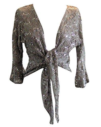 (Grey Sparkly Sequin Lace Front Tie Evening Bolero Shrug. Size 14/16)
