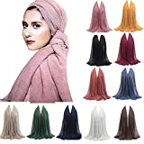 Scarfs for women Hot Sale,deatu Clearance Ladies Pleated Wrinkled Cotton and Linen Shawl Soft Muslim Scarf Head wrap