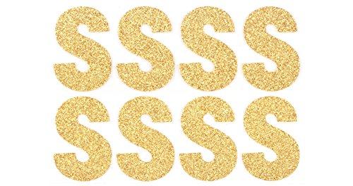 Event CircleSquare Metalic Gold Glitter Sticker Letters (S) - Pack of 8 - Glitter Glass Letter