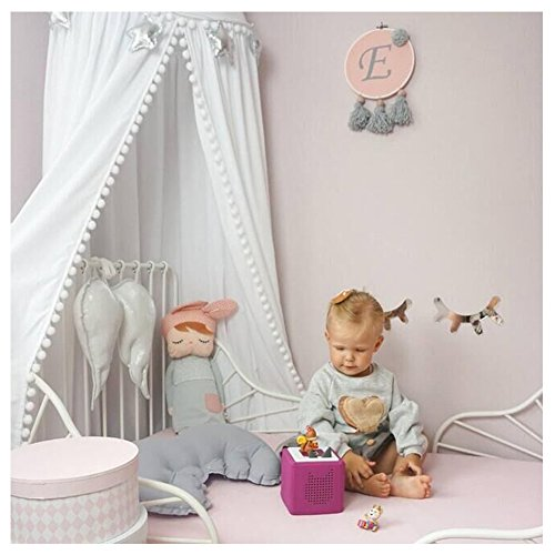 LOAOL Kids Bed Canopy with Pom Pom Hanging Mosquito Net for Baby Crib Nook Castle Game Tent Nursery Play Room Decor (White) (Silver Canopy Bed)