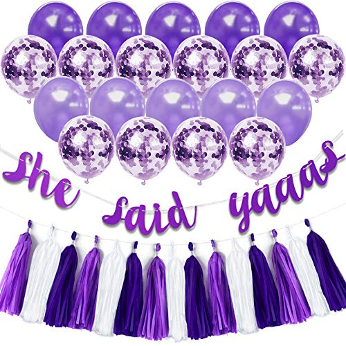 purple bridal shower decorations kit purple bachelorette party supplies set she said yaaas banner