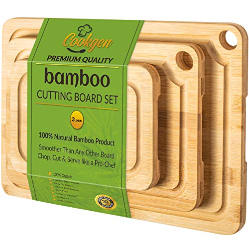 Organic Bamboo Cutting Board Set with Juice Groove(2 Oz), Long Lasting Sturdy Cutting Board, Pre-Oiled Wooden Cutting…