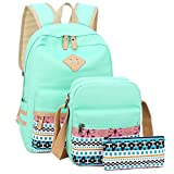 Canvas Backpack for Teens Girls School Bookbag Set Laptop Backpack Shoulder Bag Clutch Pencil Pouch (Mint Green))