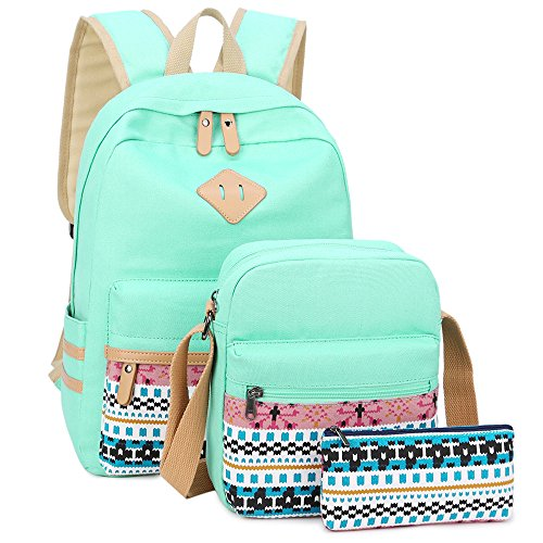 School Backpack for Girls Canvas Backpack Laptop Bookbag Shoulder Daypack Bag Clutch Pencil Pouch (Mint Green)