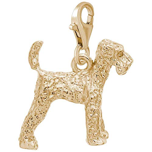 Airedale Dog Charm - Rembrandt Airedale Dog Charm with Lobster Clasp, 10K Yellow Gold