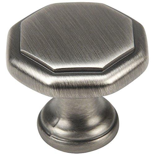 "Cosmas 5181AS Antique Silver Cabinet Hardware Octagon Knob - 1-1/4"" Diameter"