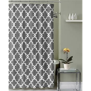 Amazon.com: Ruthy\'s Textile Geometric Patterned Shower Curtain, Grey ...