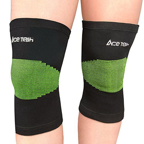 1 Pair Knee Sleeves Braces Ace Teah Compression Sports Knee Support Sleeves for Women Men Brace Knee for Workout, Running, Basketball, Arthritis, Meniscus Tear, Joint Pain Relief Non Slip, M Size