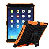 TKOOFN Heavy Duty Silicon Defender Multilayer Protective Skin Military Bumper Antislip Case Cover with Built in Stand for 2013 Apple iPad Air (iPad 5) + Screen Protector + Stylus + Cleaning Cloth, Orange - PT4207