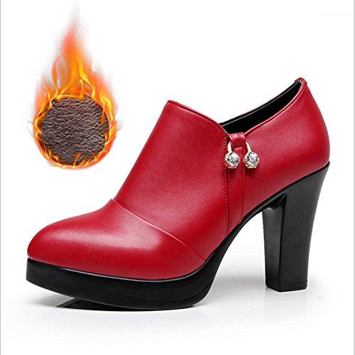 Jqdyl High Heels Wasserdichte Plattform tiefer Mund einzelne Schuhe starke Ferse High Heel spitz wasserdichte Plattform tiefer Mund einzelne Schuhe Frauen schwarz groszlig;e Grouml;szlig;e  36|Red plus v