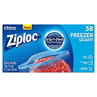 Ziploc Freezer Bags with New Grip 'n Seal Technology, Easy Open Tabs, Quart, 38 Count