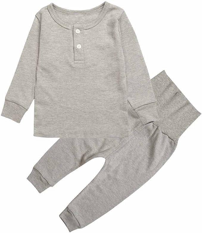Baby Boys Girls Pajamas Set 100/% Cotton Long Sleeve Soild Color Sleepwear 2-Piece PJS 0-2T