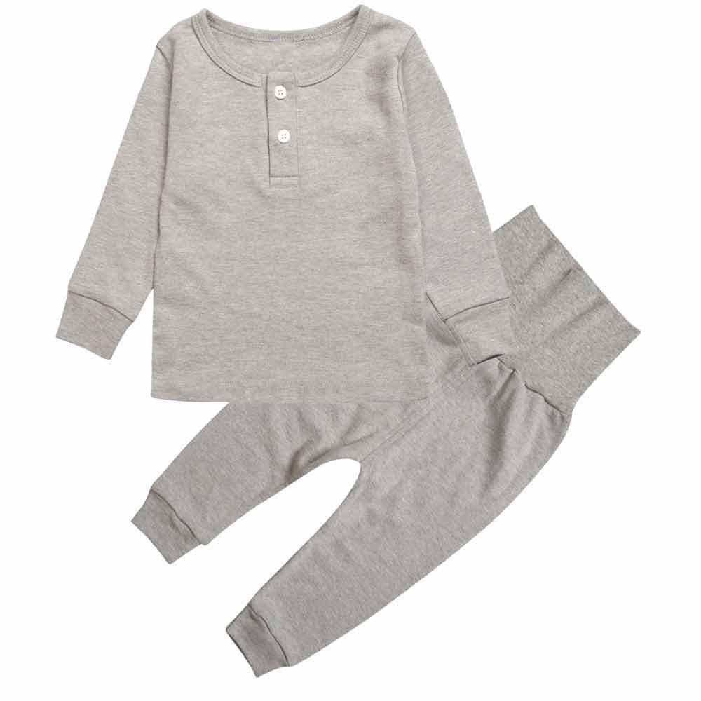 Kids Toddler Boys Girls Pajamas 2 Piece Pjs Top and Pants Set 100% Cotton Sleepwear 2T-6T Yellow