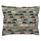 Roostery Rhino Rhinoceros Africa Ethnic Zoo Ochre Nouveau Pillow Sham by
