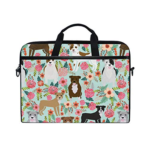15-15.4-inch Laptop Portable Protection Bags Pitbull Terriers Cute Dogs and Floral Suitable for Apple ()
