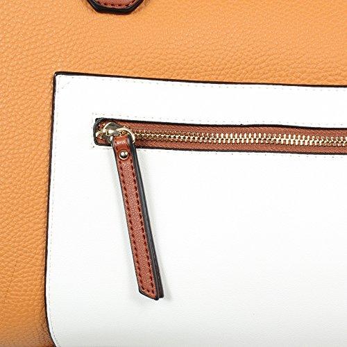 L. CREDI Damen Handtasche Anna Senf (orange braun)