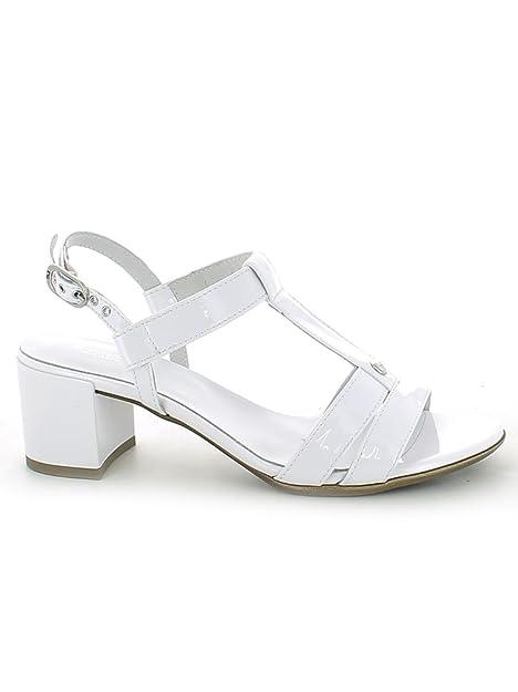 NeroGiardini - Sandalo Diamond Bianco con t-Bar e Mezzo Tacco ... ae1d7472075