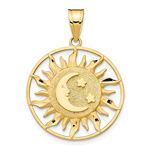 14k Yellow Gold Sun Moon Star Pendant Charm Necklace Celestial Fine Jewelry Gifts For Women For Her ()