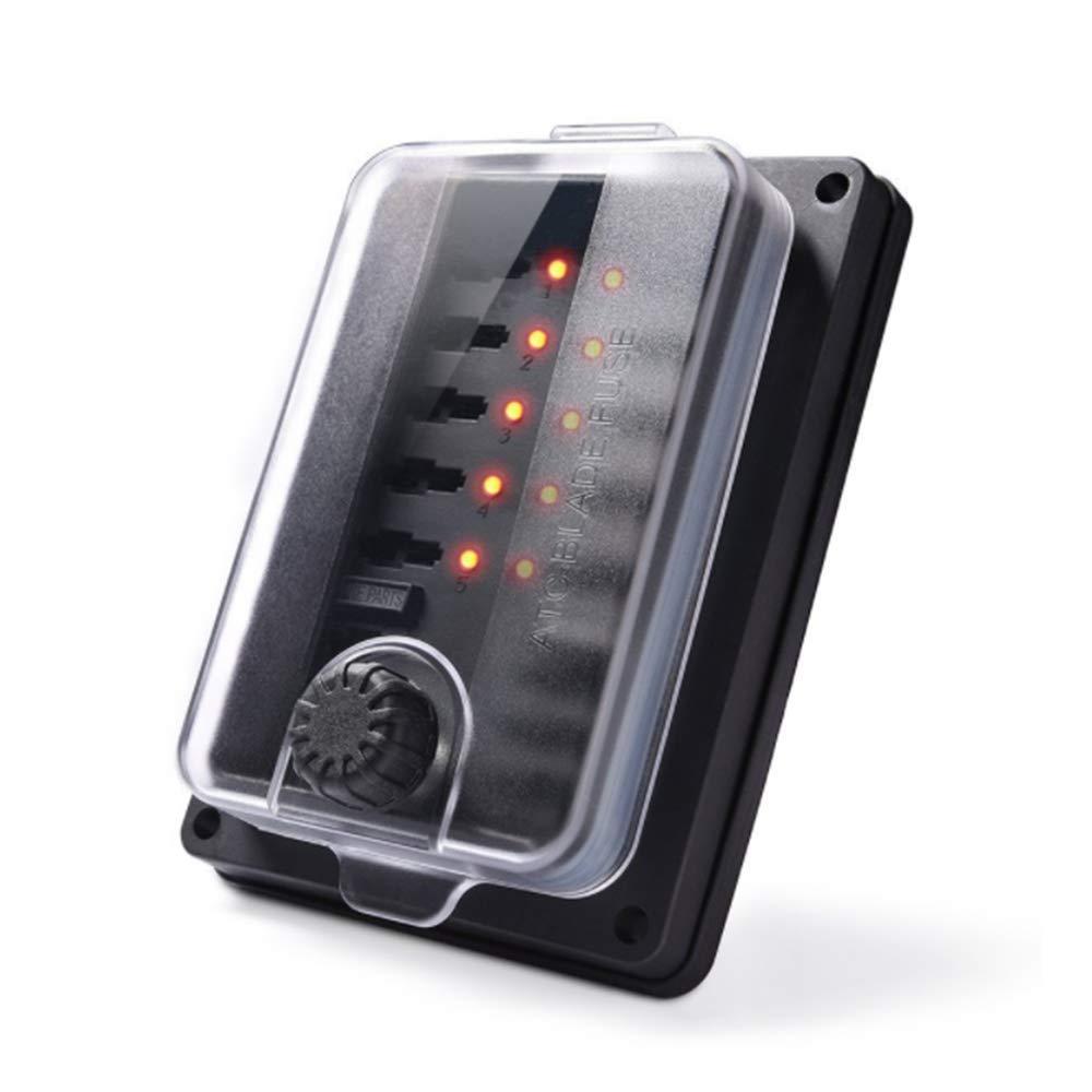 10 Compartimentos, Resistente al Agua, con indicador LED y Cubierta para Barco de Coche HORIFEN Portafusibles