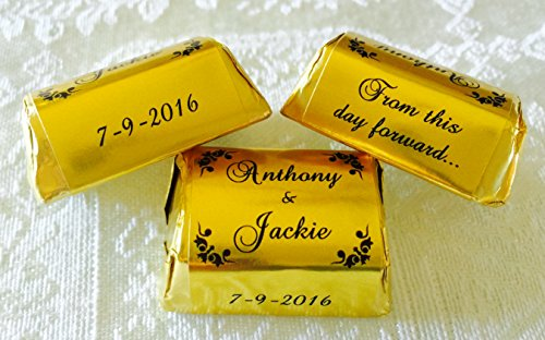 - 300 Personalized GOLD FOIL SPECIALTY SCROLL BORDER WEDDING CANDY WRAPPERS/Stickers/Labels for any party or event (Make your own chocolate favors using your HERSHEY NUGGETS)