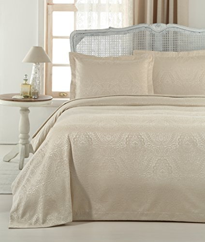 Gelin Home – 3 Piece 100% Chenille Luxurious Soft Quilted Jacquard Matelassé Bedspread – Taupe – King Size – 102″ X 90″