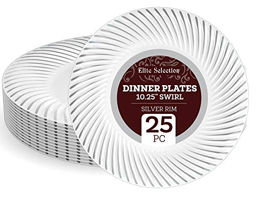 """Disposable Plastic Dinner Plates - 25 Pack 10.25"""" White Plate with Elegant Silver Swirl Rim Design for Wedding, Birthday, Dinner Party - by Elite Selection"""