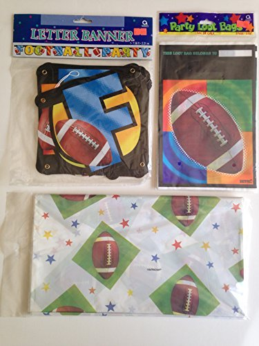 (Football Party Pack -(8 Counts) Loot Bags, Banner, and Star Table Cover - 3 Pieces)
