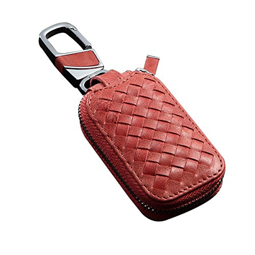 MoreFarther Car Key Wallet Holder Car Key Hider Classic Weave Style Car Key Chain Key Bag Holder Car Key Protect Cover Case Car Remote Key Holder (Claret S) ()