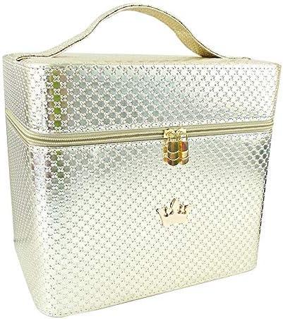 化粧品袋 PUレザー容量ポータブルメイクボックストラベルコスメティックオーガナイザーのために女性と少女 旅行化粧収納ボックス (Color : Gold, Size : 27x18x24cm)