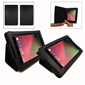 Google ASUS Nexus 7 Tablet VertiVue Case - Black Faux Leather (with added stand function)