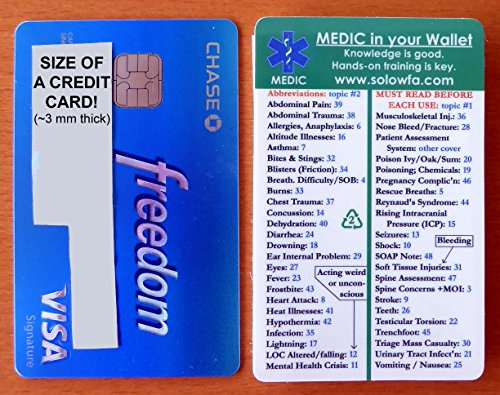 "First aid pocket guide ""MEDIC in your Wallet"" ~ FITS IN YOUR WALLET, so it's ALWAYS WITH YOU. 48 topics in Home / Disaster First Aid / Travel First Aid / Wilderness First Aid / Rural Living First Aid"