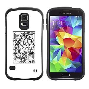 Suave TPU Caso Carcasa de Caucho Funda para Samsung Galaxy S5 SM-G900 / Pattern White Black Abstract / STRONG