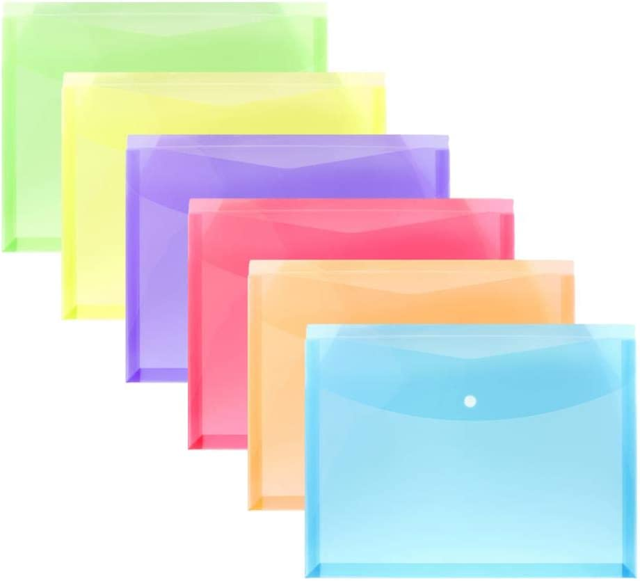 FJCA Plastic Legal Size Envelopes with Snap Closure Expandable Organizer Assorted Color Folder for Home Office 6pcs