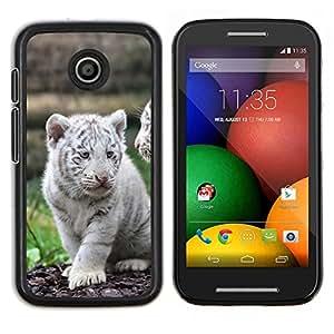 Eason Shop / Premium SLIM PC / Aliminium Casa Carcasa Funda Case Bandera Cover - White Tiger Cub Cute Puppy - For Motorola Moto E ( 1st Generation )